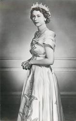 Queen Elizabeth standing, facing left looking front