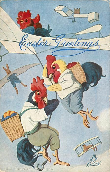 dressed cockerels carrying basket of multicoloured eggs on their backs hang on to rope from plane flown by hen