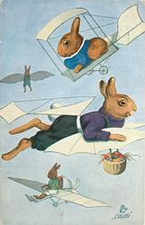 dressed rabbit with wings flies carrying eggs in basket, others fly planes above & below
