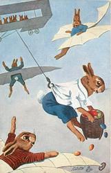 dressed rabbits with wings fly, another hooked onto rope from plane, carries basket of multicoloured eggs