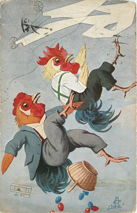 two dressed cockerel fall from flying wings, dropping basket of multicoloured eggs, small flying device far bottom left corner