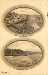 two oval insets  BLACKPOOL LOOKING SOUTH// THE FRONT FROM CENTRAL PIER
