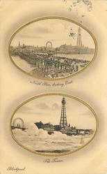 two oval insets  NORTH PIER LOOKING EAST//THE TOWER