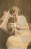 young lady sits looking & facing forward, both hands hold pekingese dog on lap