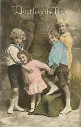 I JUST LOVE THE BOYS  three boys & an  two girls  stand posed with a fake tree, boy and girl right, one to left, girl in centre, holding hands