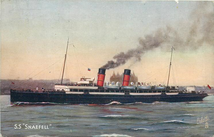 "S.S. ""SNAEFELL""  steaming left"