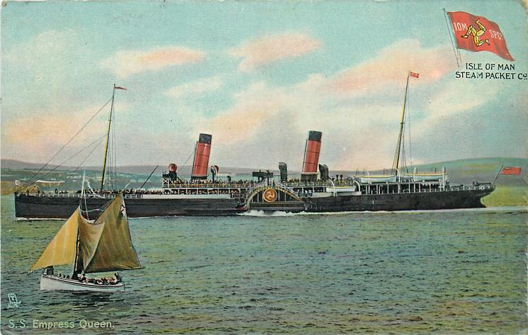 S.S. EMPRESS QUEEN  steams left, small sailboat left with yellow sails