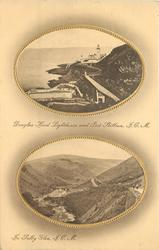 2 insets  DOUGLAS HEAD LIGHTHOUSE AND PORT SKILLION, I.O.M.//IN SULBY GLEN, I.O.M.