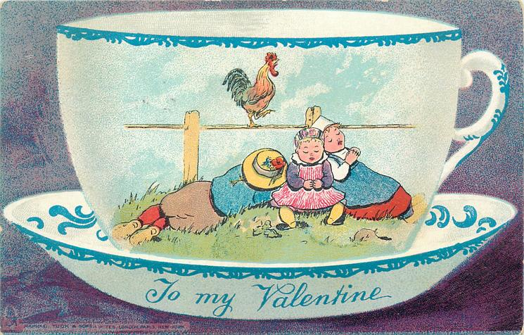 boy left, looks away, two girls right, all sleeping, rooster on fence