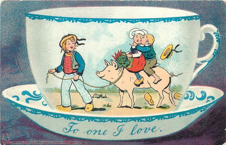boy left leads pig on leash, girl & boy on pig