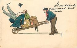 IT SUDDENLY OCCURRED TO ME  porter with barrow of luggage upsets well dressed man