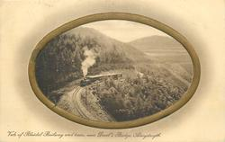VALE OF RHEIDOL RAILWAY AND TRAIN, NEAR DEVIL'S BRIDGE  oval frame
