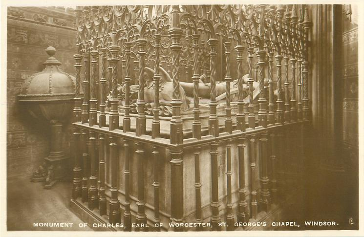 MONUMENT OF CHARLES, EARL OF WORCESTER, ST. GEORGE'S CHAPEL