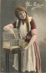 girl with long  pigtails, in apron, putting bird in cage