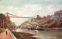 SUSPENSION BRIDGE  distant view with two steamers passing under