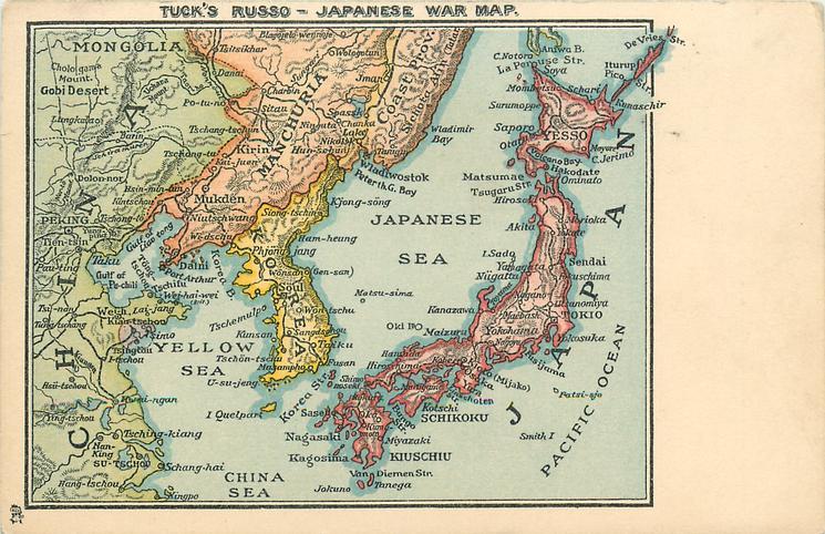 TUCK'S RUSSO-JAPANESE WAR MAP map showing Japan, Korea, Manchuria & China