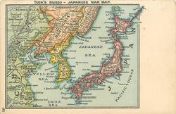 TUCK'S RUSSO-JAPANESE WAR MAP map showing Japan, Korea, Manchuria & China