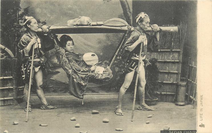 SEDAN CHAIR  geisha carried by two porters