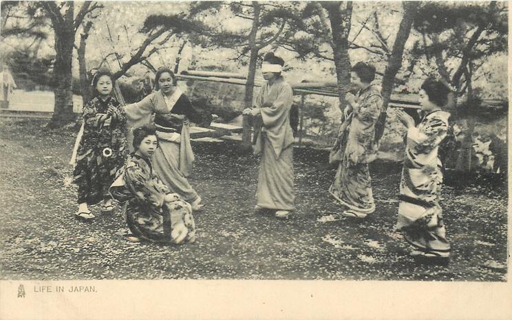 six geishas playing blind-man's-bluff