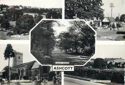 ASHCOTT, 5 insets BIRD'S EYE VIEW and POST OFFICE and LOXLEY WOODS and ALL SAINTS CHURCH and VIEW FROM ETONHURST