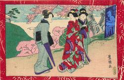 three geishas walk outside under cherry trees