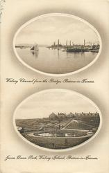 2 insets WALNEY CHANNEL FROM THE BRIDGE and JAMES DUNN PARK, WALNEY ISLAND