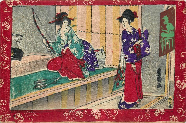 lady archer with bow & arrows sits at left on bench talking to geisha standing on right