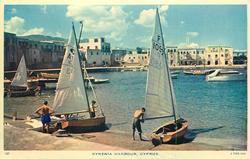 KYRENIA HARBOUR three sailboats on shore