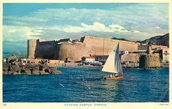 KYRENIA CASTLE, from the sea, small sailing boat centre right