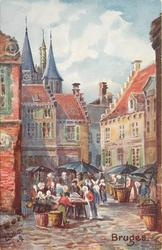street scene, four umbrellas in street, three steeples upper left on back:- THE CAPITAL OF WEST FLANDERS...