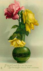 BIRTHDAY GREETINGS on green vase in gilt