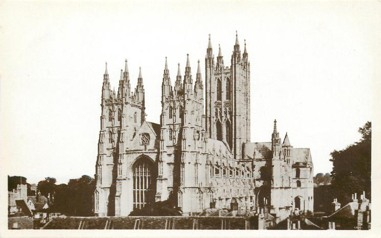 back CANTERBURY CATHEDRAL FROM THE SOUTH WEST, TAKEN IN 1932 FROM THE ROOF OF MESSRS. LEFEVRE'S PREMISES IN GUILDHALL STREET