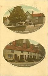 two oval insets of ST.GEORGE top shows shop with cart in front & 2 people base showsrow of joined houses