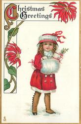 CHRISTMAS GREETINGS  red-coated girl with muff carrying presents