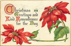 CHRISTMAS GREETINGS AND KIND REMEMBRANCE FOR THE DAY inscription left