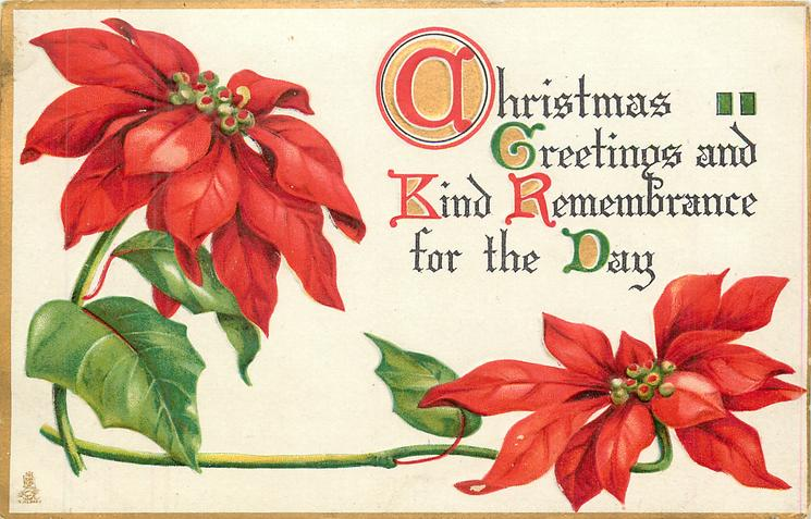 CHRISTMAS GREETINGS AND KIND REMEMBRANCE FOR THE DAY inscription right