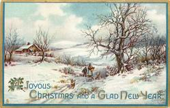 A JOYOUS CHRISTMAS  AND A GLAD NEW YEAR (blue & gold borders)  snow scene, woman, child  & dog centre, house left