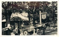 MR. LLOYD GEORGE'S FARM SHOP  people & horse drawn in front of shop