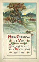 MERRY CHRISTMAS TO YOU, THIS CARD IS SENT WITH WISHES KIND AND TRUE
