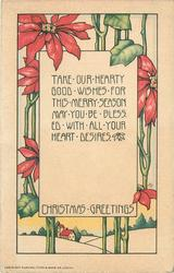 CHRISTMAS GREETINGS TAKE OUR HEARTY GOOD WISHES FOR THIS MERRY SEASON MAY YOU BE BLESSSED WITH ALL YOUR HEART DESIRES