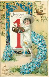 A HAPPY NEW YEAR  boy painting red 1 with right hand, horseshoe of forget-me-nots-surround