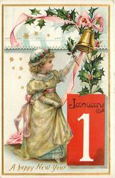 A HAPPY NEW YEAR  girl holds spray of holly up to bell, date lower right in red