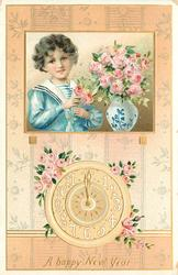 A HAPPY NEW YEAR  inset boy with pink roses & delft vase above clock