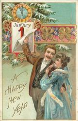 A HAPPY NEW YEAR  man embraces woman whilst turning calendar page with his right hand