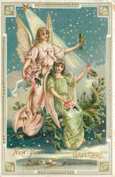 NEW YEAR GREETINGS  angel in pink & another in green robe hold holly & roses in sky