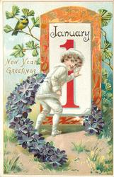 NEW YEAR GREETINGS  boy looks front with left hand on calendar, tit upper left, violet horseshoe surround