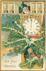 NEW YEAR GREETINGS  elf looks down at clock, two robins on branch in front of clock