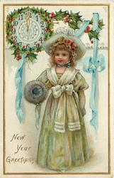 NEW YEAR GREETINGS  girl standing with muff on her right arm, clock upper left