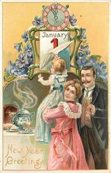 NEW YEAR GREETINGS  woman holds up child to reveal date, clock above, man with wine to right