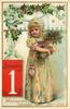 WISHING YOU A HAPPY NEW YEAR  girl clasps bundle of holly with both hands, date in lower left in red